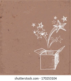 Card with magic gift box hand drawn on brown paper. Vector illustration.