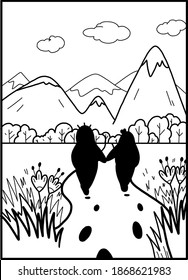 card monochrome, minimalist lines rendered with the image of a funny little man who sits on Pirogi on a hill and meditates two men who went off the path and away easily mountain landscape