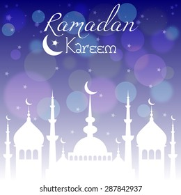 Card with mosque in night for congratulations with beginning of fasting month of Ramadan, as well with Islamic holiday Eid al-Fitr and Eid al-Adha. Vector illustration