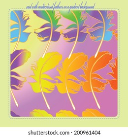 Card with multicolored  ornament of feathers on a light gradient rounded rectangle and text on a light gray frame.