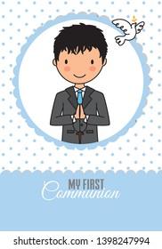 Card my first communion boy