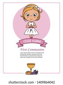 Card my first communion girl. Praying girl.