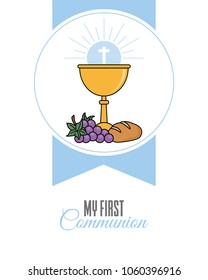 Card my first communion invitation. chalice with bread and grapes. vector isolated