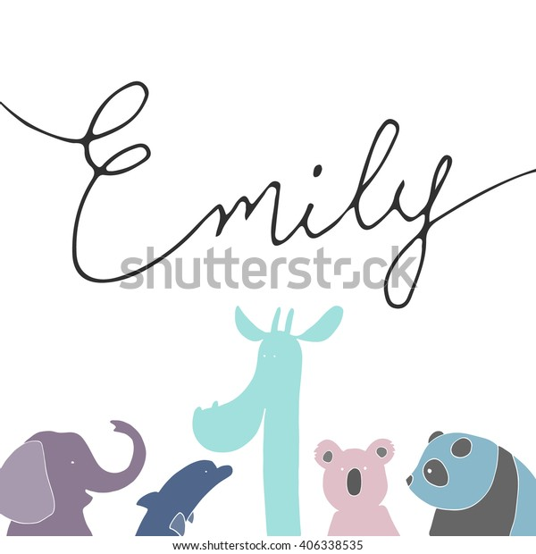 Card Name Emily Funny Varicolored Animals Stock Vector