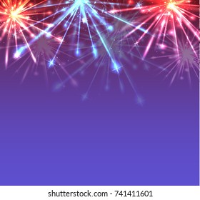 Card with New Year multicolored fireworks with sparks and place for your creativity. Vector element for postcards, cards, mailings, banners and your design