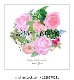 Card for newlyweds, floral bouquet with pink roses