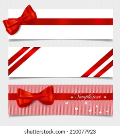 Card note with gift bows and ribbons. Vector illustration.