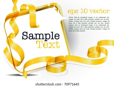 card note with golden transparent ribbon on white background. Blank frame gift tag. eps10 vector