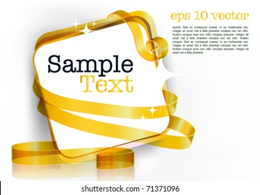 card note with rolled up golden swirly ribbon on white background. Blank frame gift tag. eps10 vector