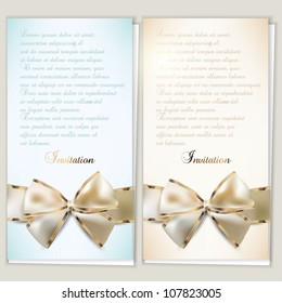 Card notes with ribbons.  Beige and Blue invitations