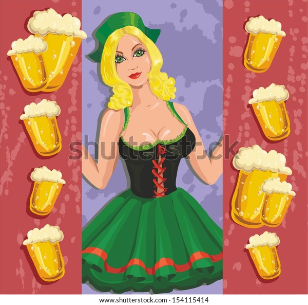 card for Oktoberfest. Young girl with a beer