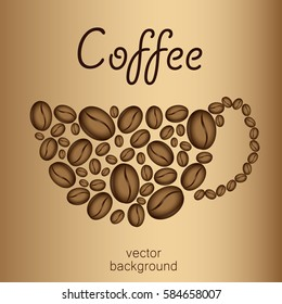 card on the coffee theme, abstract cup of coffee beans, coffee cup silhouette