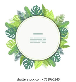Card on tropical jungle leaves theme.  All objects are conveniently grouped and easily editable.