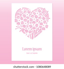 Card with openwork heart with flowers. Laser cutting template.