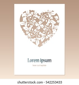 Card with openwork heart with leaves pattern and space for text. Laser cutting template for greeting cards, envelopes, wedding invitations, decorative elements.