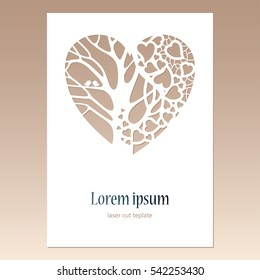 Card with openwork heart with tree and two birds and space for text. Laser cutting template for greeting cards, envelopes, wedding invitations, decorative elements. Greeting card design.