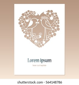 Card with openwork heart with two birds and space for text. Laser cutting template for greeting cards, envelopes, wedding invitations, decorative elements.