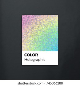 Card from pantone palette. Holographic sample. Vector illustration. Design template.