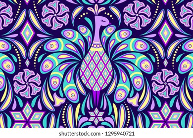 Card with peacock and abstract flowers on dark background. Vector illustration.