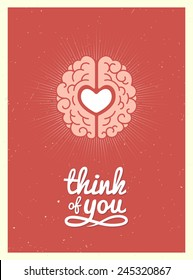 Card with a picture of the brain and heart in a retro style. Vector Illustration.