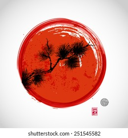 Card with pine tree branch and big red circle, symbol of Japan, on white background. Hand-drawn with ink in sumi-e style.Traditional Japanese painting. Sealed with decorative stylized stamps.