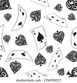 card poker with seamless pattern background