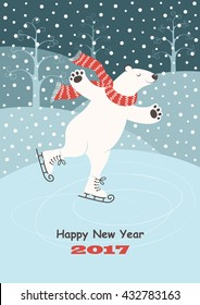 Card with a polar bear skating on ice, snow and winter trees. Vector background.