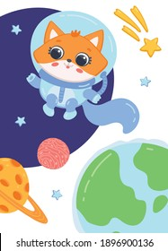 Card or poster with cute kitten cartoon character floating in open space, flat vector illustration. Funny cat animal astronaut or cosmonaut in cosmos.