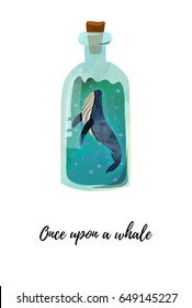 Card or poster design with whale in the bottle. Watercolour imitation.