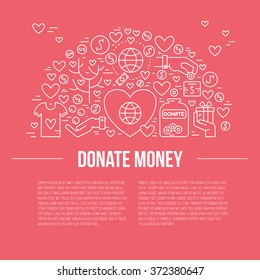 Card or poster template with charity and fundraising objects. Volunteer poster. Funsraising event card template. Vector illustration with place for your text.
