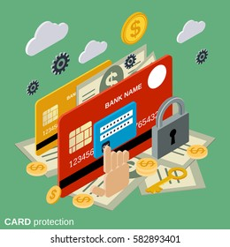 Card protection, secure transaction, financial security flat 3d isometric vector concept illustration