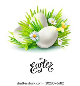 Card with realistic 3d green Easter eggs and holiday symbols cut out paper art elements - grass, many flowers, butterflies isolated on white background. Vector illustration. Lettering. Greetings