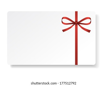 Card with red bow and ribbon. Vector illustration