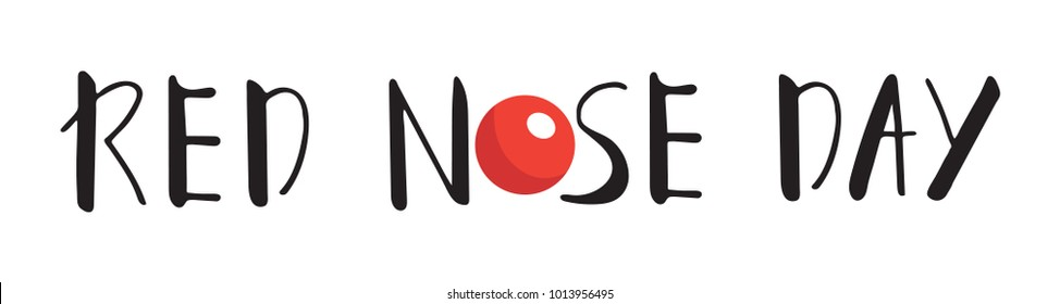 Card of red nose day. Vector illustration. Red Nose Day Abstract Vector Sign, Emblem, or Banner. Isolated. Flat style.