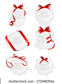 Card with Red Ribbon and Bow Set. Vector illustration EPS10