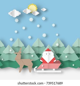Card with Santa Claus and deer on Christmas landscape this image is a vector illustration