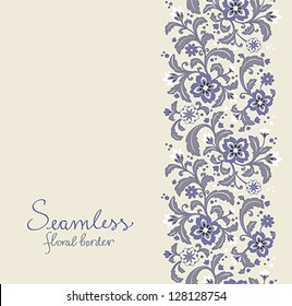 Card with seamless floral border. EPS10.
