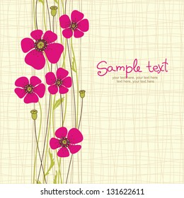 card with seamless poppy flowers