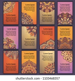 Card set with floral decorative mandala elements background. Asian Indian oriental ornate banners
