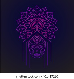 Card with Shaman, logo design in vector Shaman Illustration for design pattern textiles print on t-shirt cup canvas and other object, for logo sites. Tribal style, ethnic style. Feather headdress