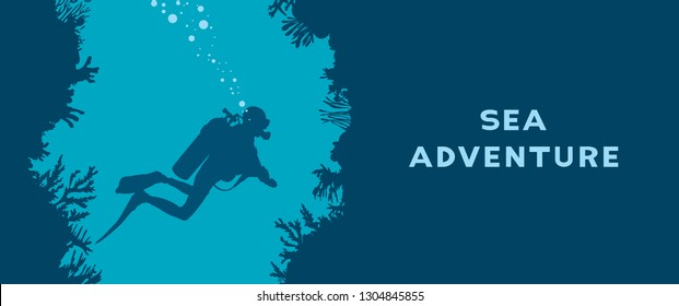 Card with silhouette of scuba diver, underwater cave and coral reef. Vector nature illustration with text - Sea adventure. Water sport.