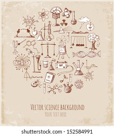 Card with sketch science objects in vintage style. Physics and chemistry. Vector illustration.