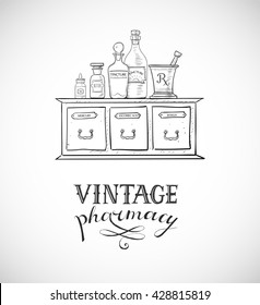 Card with sketch vintage pharmacy elements.
