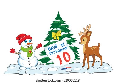 Card with snowman and baby deer looking at the sheet of advent calendar. Lettering Days til Christmas. Elements organized by groups.