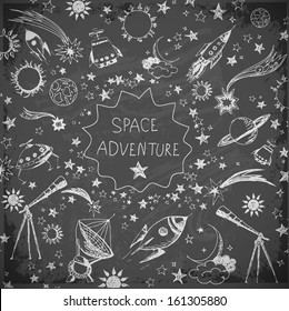 Card with space objects on blackboard: stars, rockets, planets, the moon, the sun etc. Hand-drawn with ink. Vector illustration.