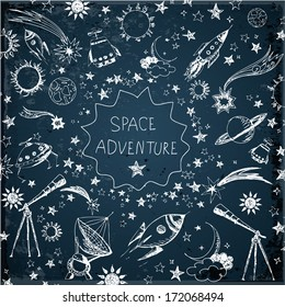 Card with space objects: stars, rockets, planets, the moon, the sun etc. Hand-drawn with ink. Vector illustration.