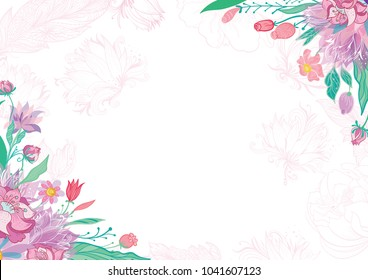 Card with Spring Floral Corners Blossoming Vector frame with pink sketch flowers for invitation and greeting design