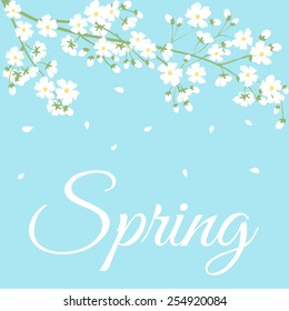 Card with spring flowers on tree branch