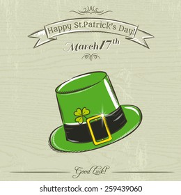 Card for St. Patrick's Day with green hat, vector