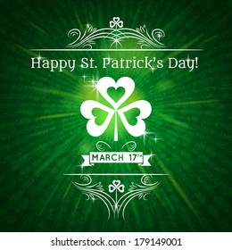 Card for St. Patrick's Day with text and shamrock